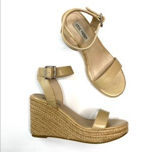 Steve Madden Tan Faux Leather Espadrille Wedges 9